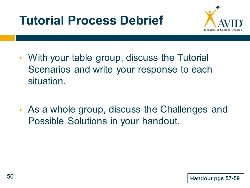 56 Tutorial Process Debrief With your table group, discuss the Tutorial Scenarios and write your response to each situation. As a whole group, discuss
