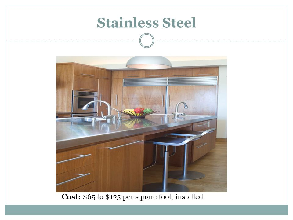 Stainless Steel Cost: $65 to $125 per square foot, installed
