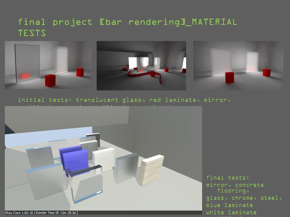 final project [bar rendering]_MATERIALS USED matte black [cap] reflective chrome [shelf cables] glass [windows, bottles]