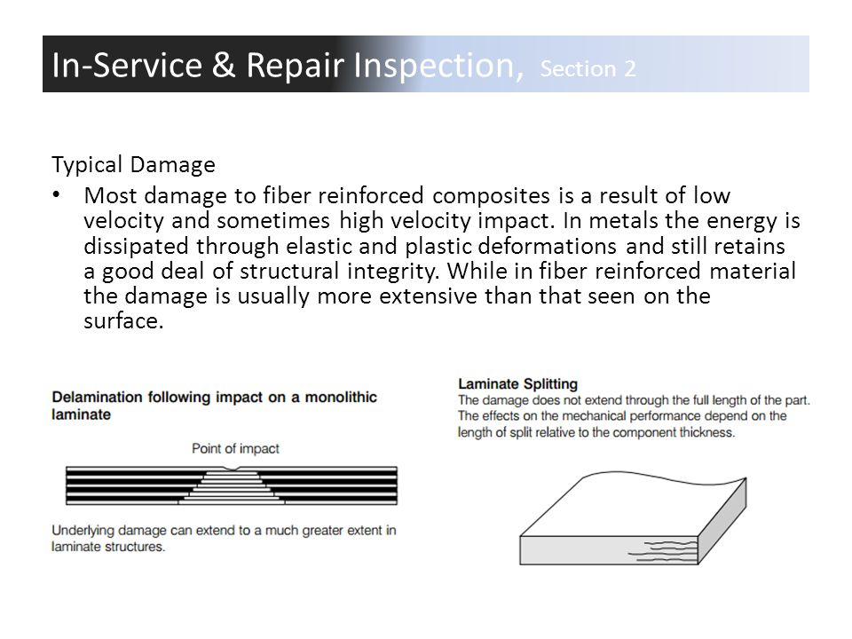 Typical Damage Most damage to fiber reinforced composites is a result of low velocity and sometimes high velocity impact. In metals the energy is diss
