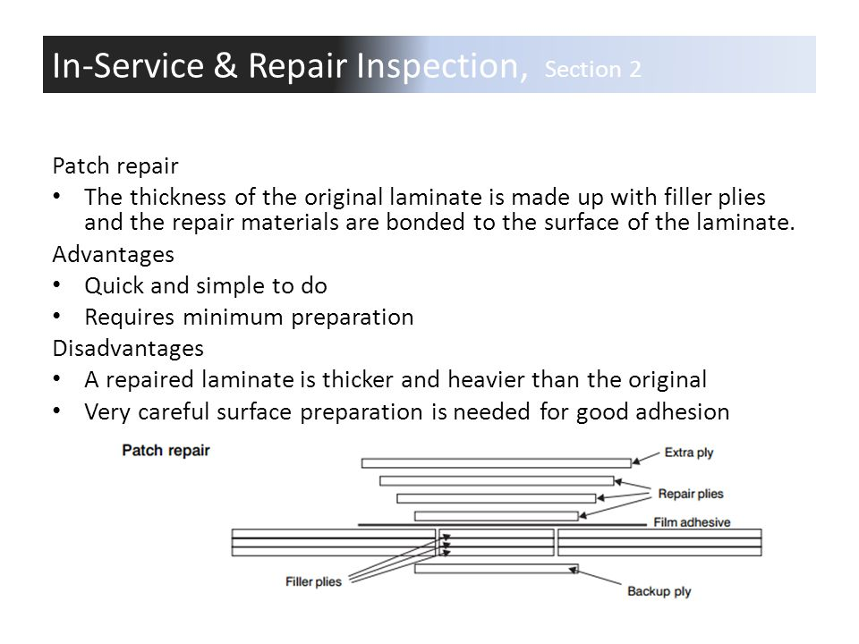 Patch repair The thickness of the original laminate is made up with filler plies and the repair materials are bonded to the surface of the laminate. A