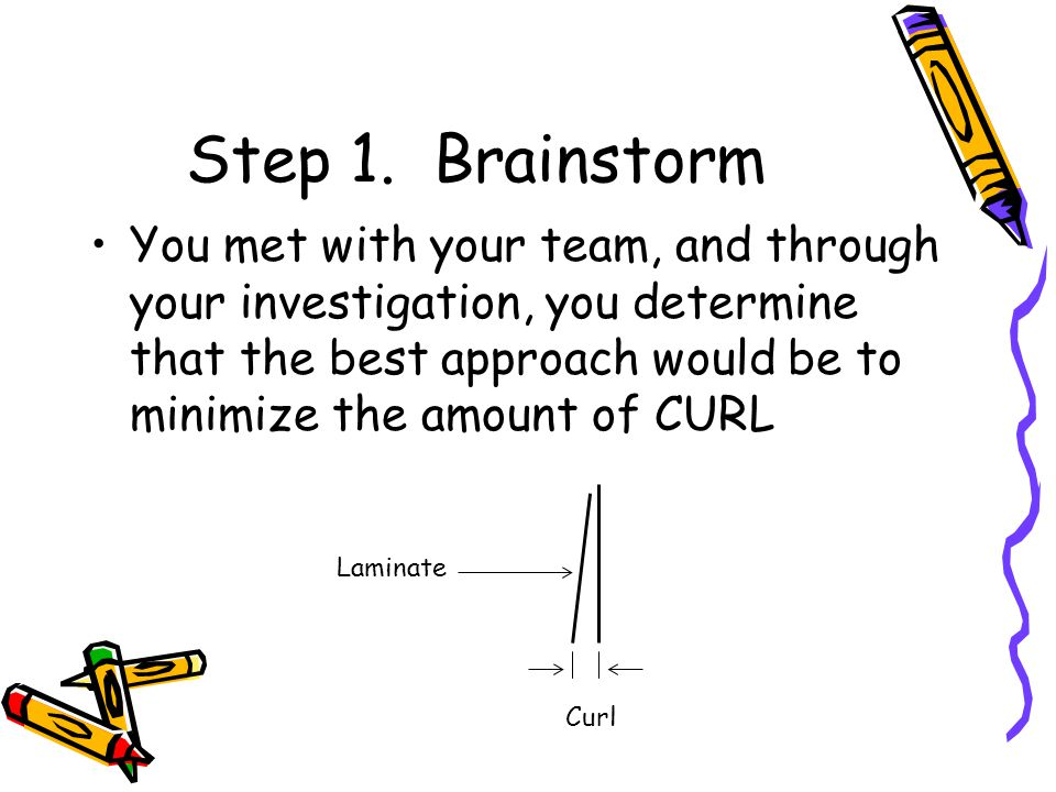 Step 1. Brainstorm You met with your team, and through your investigation, you determine that the best approach would be to minimize the amount of CUR
