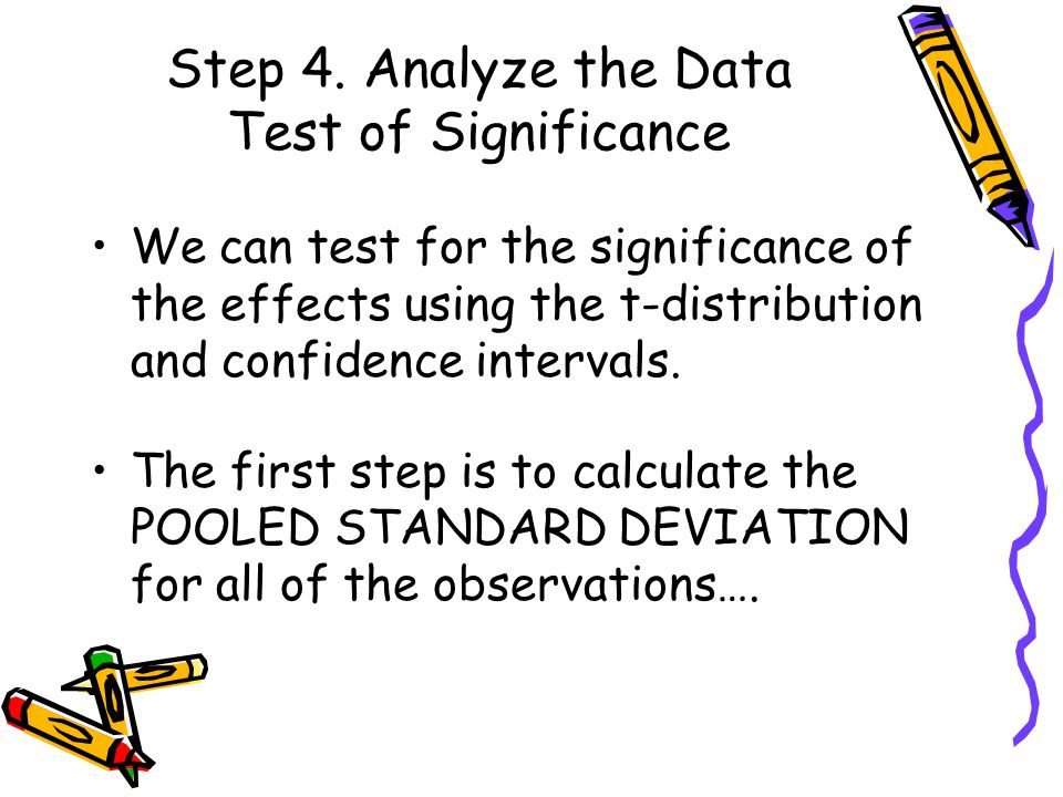 Step 4. Analyze the Data Test of Significance We can test for the significance of the effects using the t-distribution and confidence intervals. The f