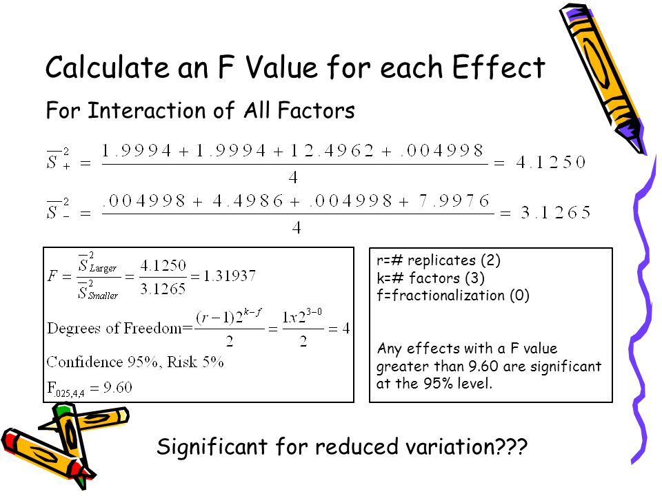 Calculate an F Value for each Effect For Interaction of All Factors r=# replicates (2) k=# factors (3) f=fractionalization (0) Any effects with a F value greater than 9.60 are significant at the 95% level.
