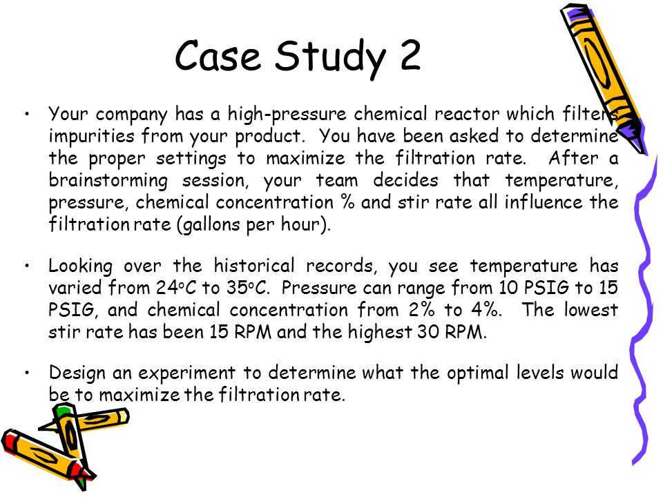 Case Study 2 Your company has a high-pressure chemical reactor which filters impurities from your product.