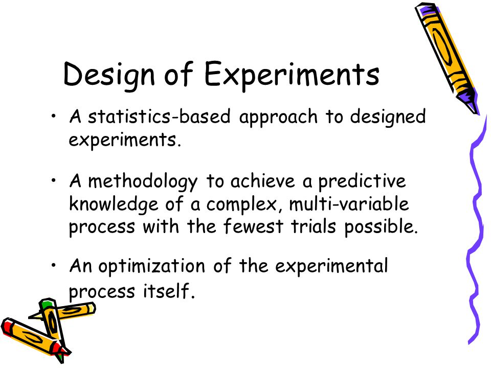 Design of Experiments A statistics-based approach to designed experiments.