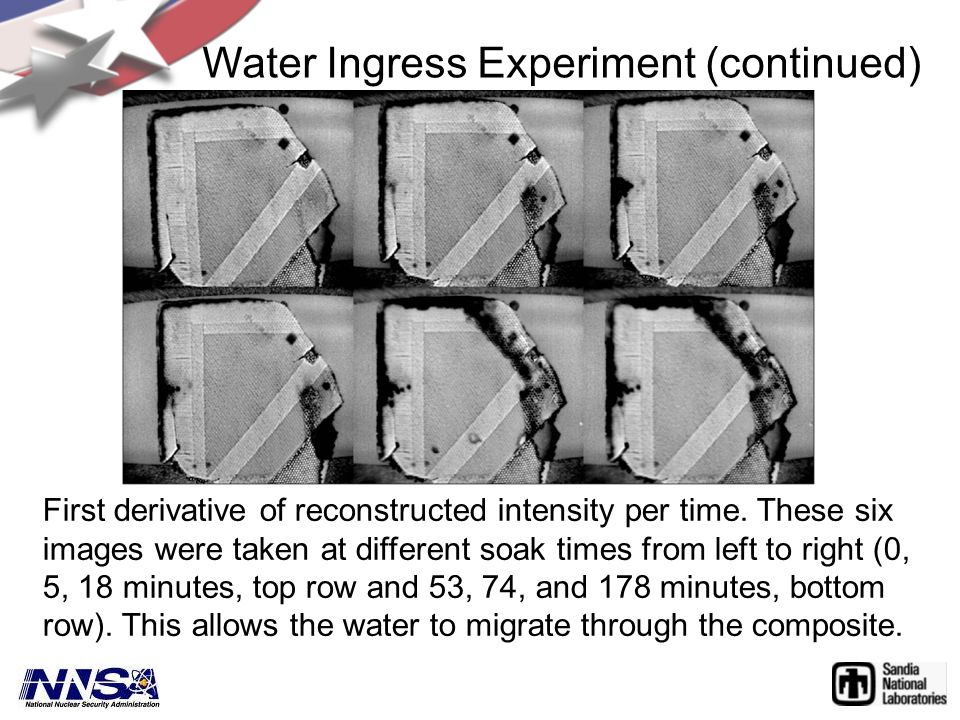Water Ingress Experiment (continued) First derivative of reconstructed intensity per time. These six images were taken at different soak times from le