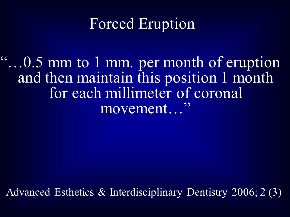 Forced Eruption …0.5 mm to 1 mm.