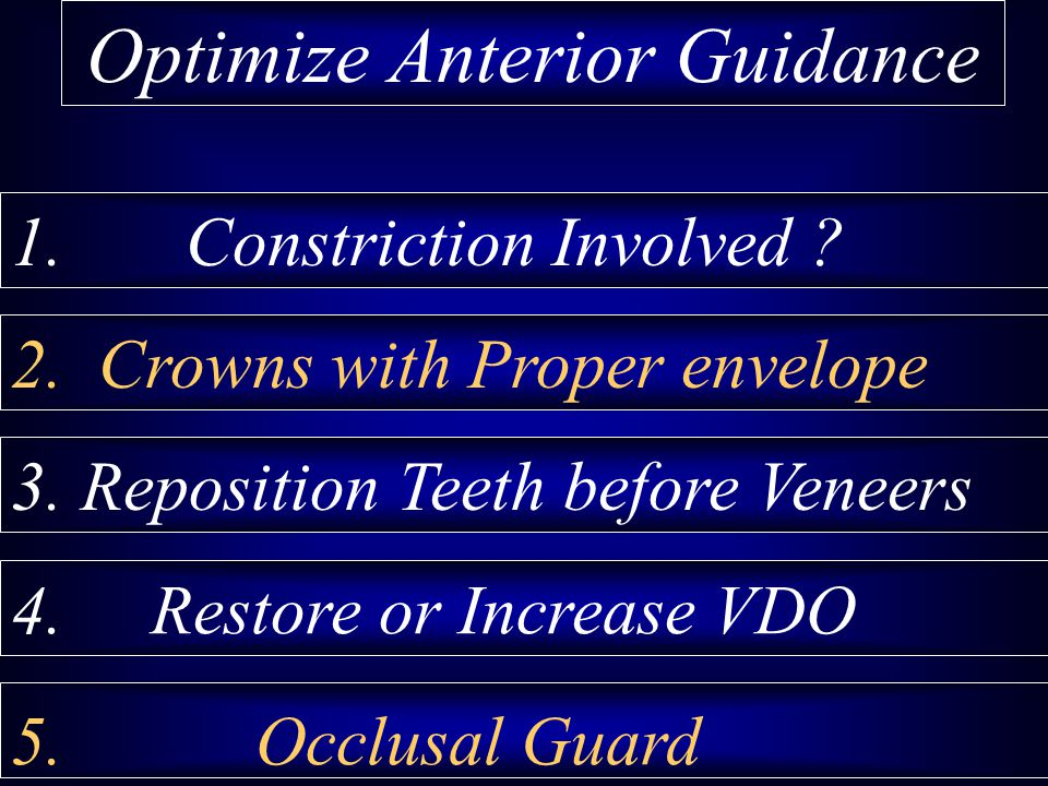 2. Crowns with Proper envelope 3. Reposition Teeth before Veneers 4. Restore or Increase VDO 5. Occlusal Guard Optimize Anterior Guidance 1. Constrict