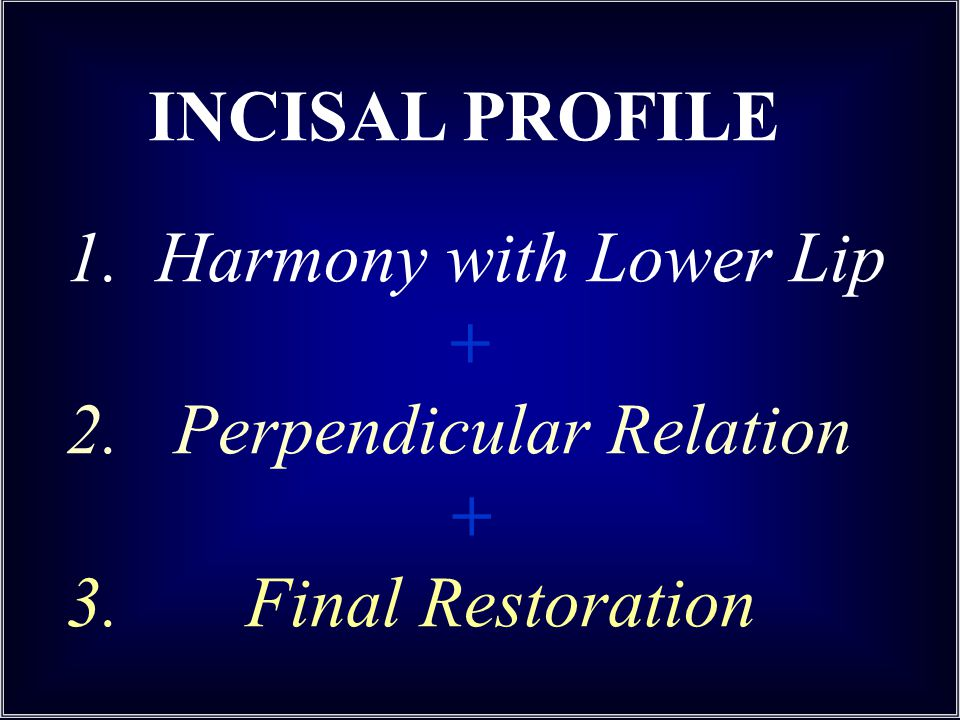 1. Harmony with Lower Lip + 2. Perpendicular Relation + 3. Final Restoration INCISAL PROFILE