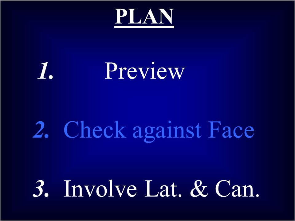 PLAN 1. Preview 2. Check against Face 3. Involve Lat. & Can.