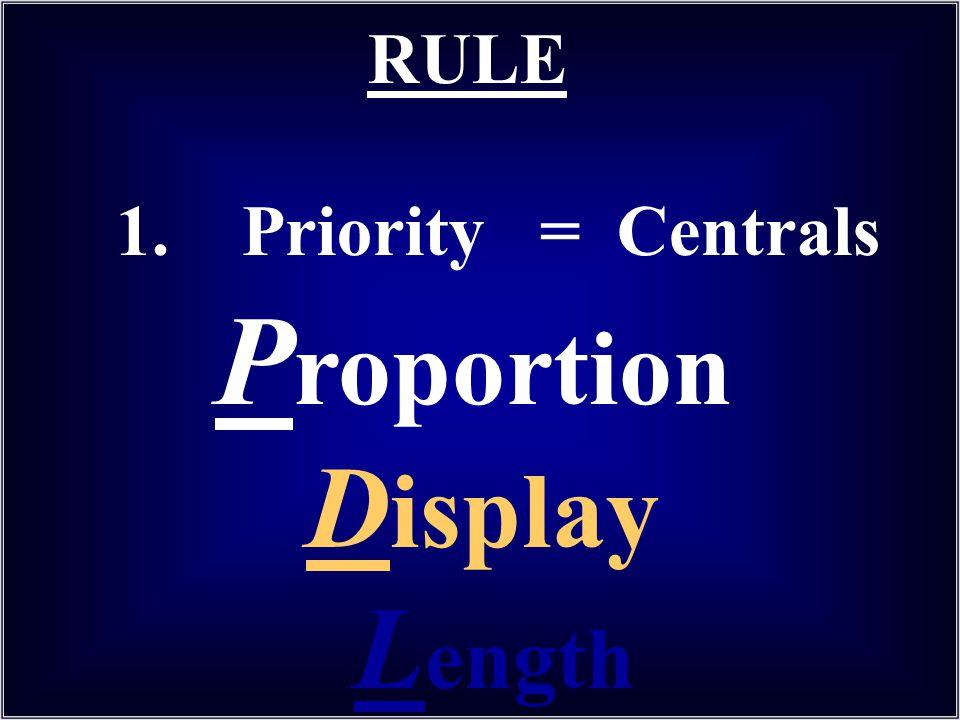 P roportion D isplay L ength RULE 1. Priority = Centrals