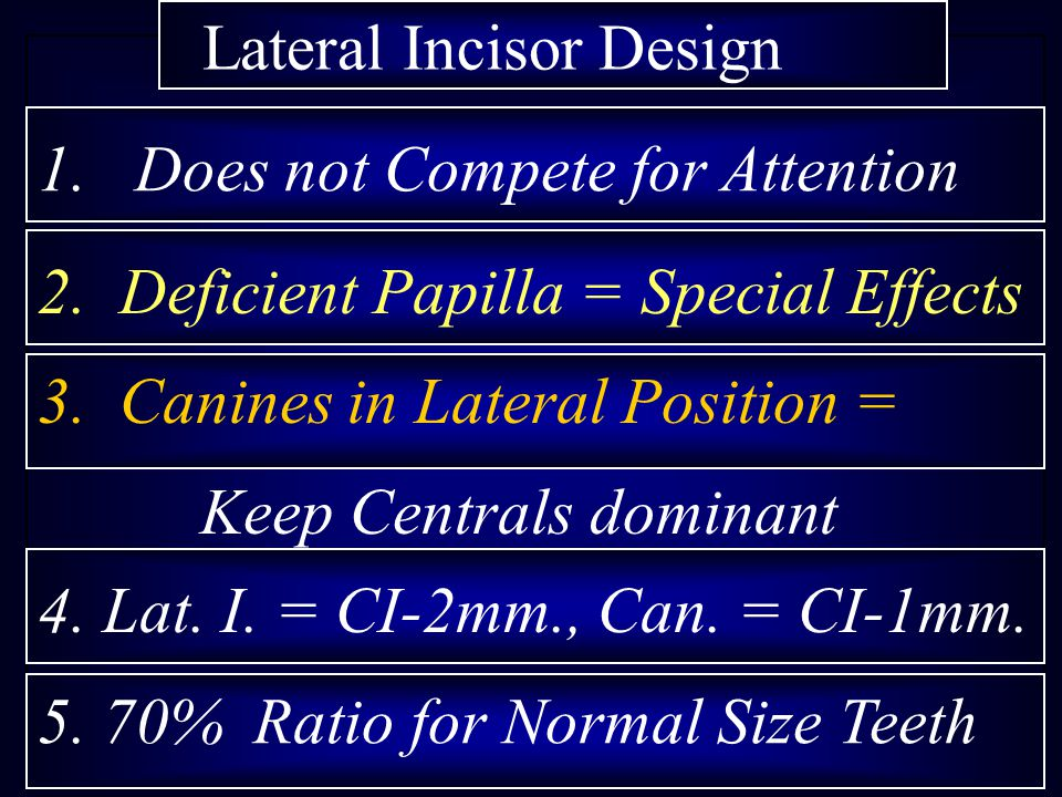 Lateral Incisor Design 1. Does not Compete for Attention 2. Deficient Papilla = Special Effects 3. Canines in Lateral Position = Keep Centrals dominan