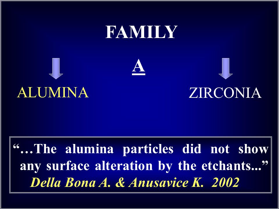 ALUMINA FAMILY A …The alumina particles did not show any surface alteration by the etchants...