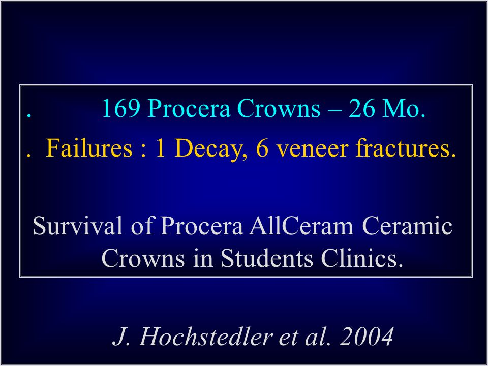 169 Procera Crowns – 26 Mo..Failures : 1 Decay, 6 veneer fractures.
