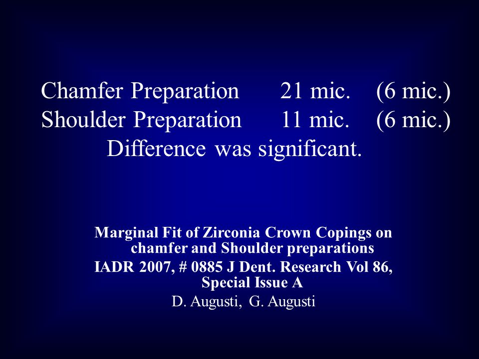 Marginal Fit of Zirconia Crown Copings on chamfer and Shoulder preparations IADR 2007, # 0885 J Dent.