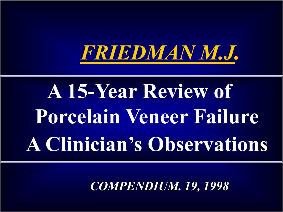 A 15-Year Review of Porcelain Veneer Failure A Clinicians Observations FRIEDMAN M.J. COMPENDIUM. 19, 1998 COMPENDIUM. 19, 1998