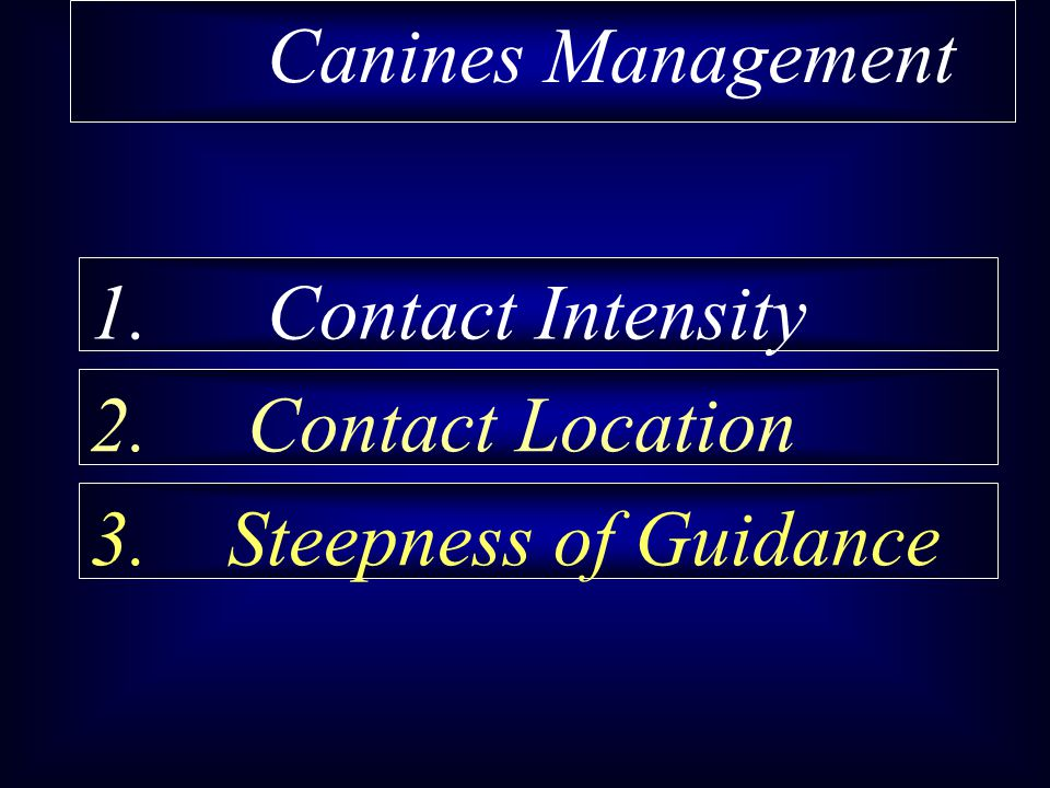 Canines Management 1. Contact Intensity 2. Contact Location 3. Steepness of Guidance
