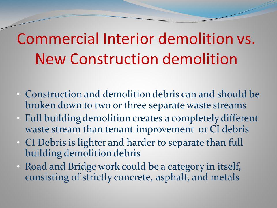 Hard vs. Soft demolition Full building demolition debris Commercial Interior demolition debris