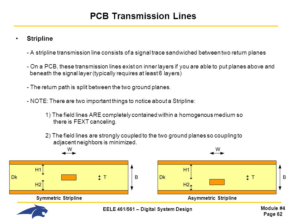 EELE 461/561 – Digital System Design Module #4 Page 62 PCB Transmission Lines Stripline - A stripline transmission line consists of a signal trace san