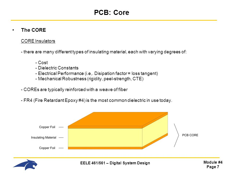 EELE 461/561 – Digital System Design Module #4 Page 7 PCB: Core The CORE CORE Insulators - there are many different types of insulating material, each
