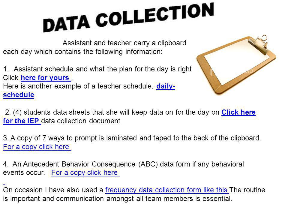 Assistant and teacher carry a clipboard each day which contains the following information: 1.Assistant schedule and what the plan for the day is right