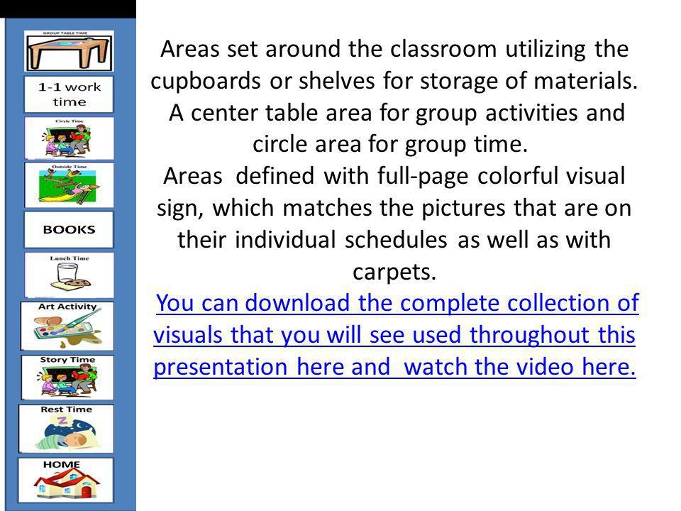 Areas set around the classroom utilizing the cupboards or shelves for storage of materials. A center table area for group activities and circle area f