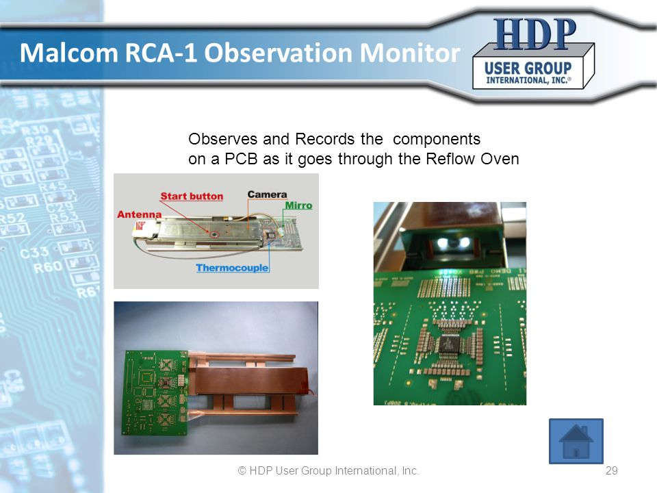 Malcom RCA-1 Observation Monitor © HDP User Group International, Inc.29 Observes and Records the components on a PCB as it goes through the Reflow Ove