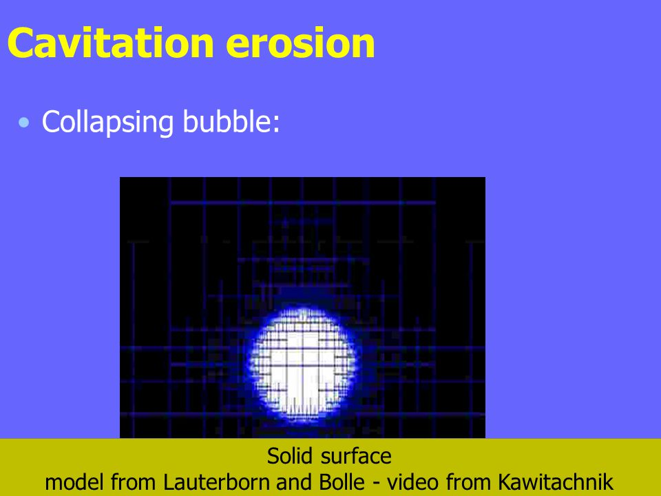 Cavitation erosion Collapsing bubble: Solid surface model from Lauterborn and Bolle - video from Kawitachnik