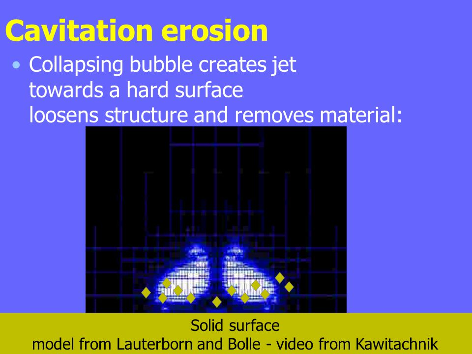 Cavitation erosion Collapsing bubble creates jet towards a hard surface loosens structure and removes material: Solid surface model from Lauterborn an