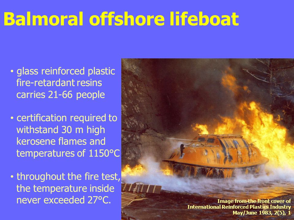 Balmoral offshore lifeboat glass reinforced plastic fire-retardant resins carries 21-66 people certification required to withstand 30 m high kerosene