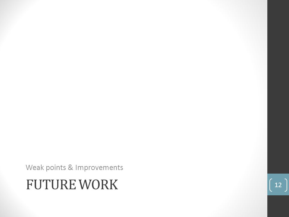 FUTURE WORK Weak points & Improvements 12