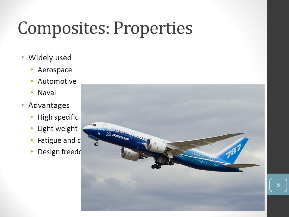 Composites: Properties Widely used Aerospace Automotive Naval Advantages High specific strength Light weight Fatigue and corrosion resistance Design f