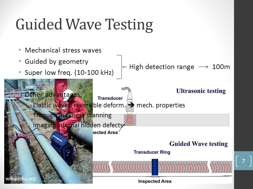 Guided Wave Testing High detection range 100m wikipedia.org Mechanical stress waves Guided by geometry Super low freq. (10-100 kHz) Other advantages: