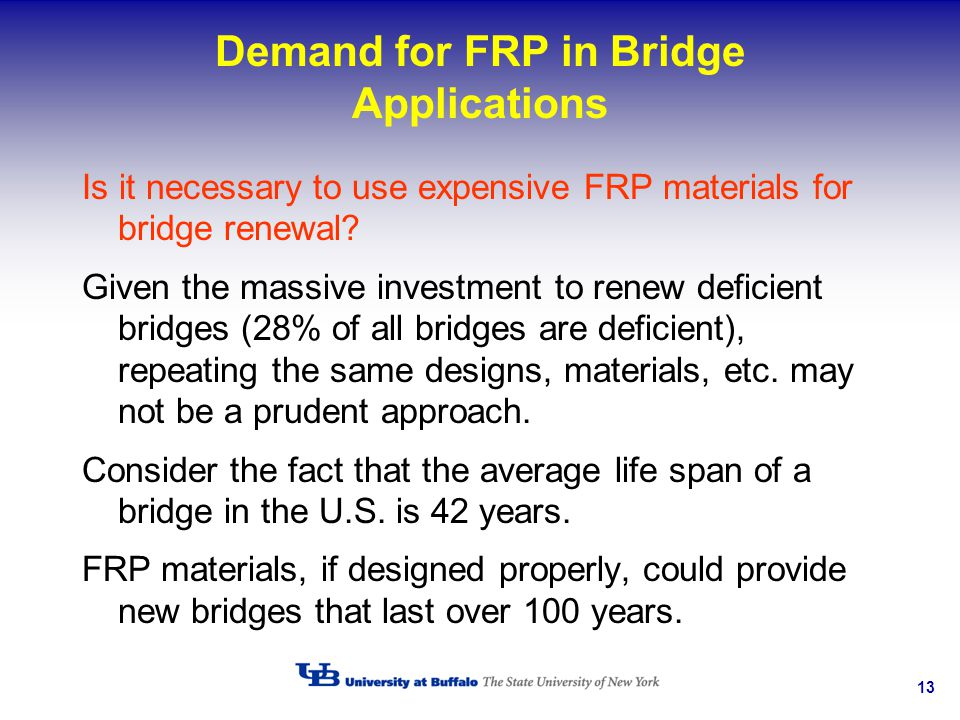 13 Demand for FRP in Bridge Applications Is it necessary to use expensive FRP materials for bridge renewal? Given the massive investment to renew defi