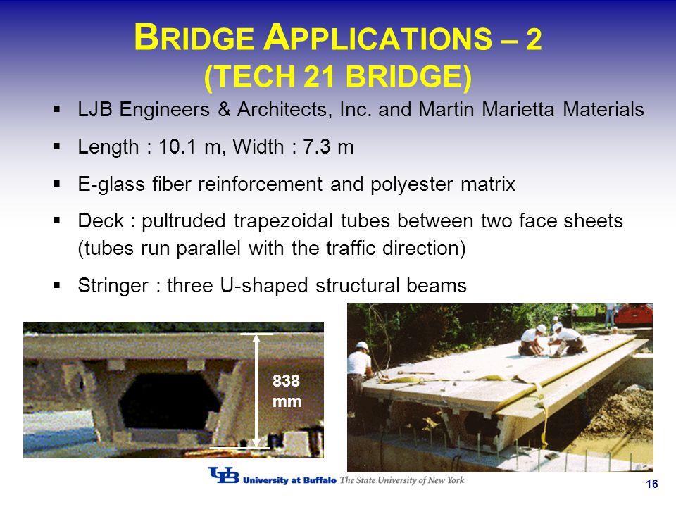 16 B RIDGE A PPLICATIONS – 2 (TECH 21 BRIDGE) LJB Engineers & Architects, Inc. and Martin Marietta Materials Length : 10.1 m, Width : 7.3 m E-glass fi