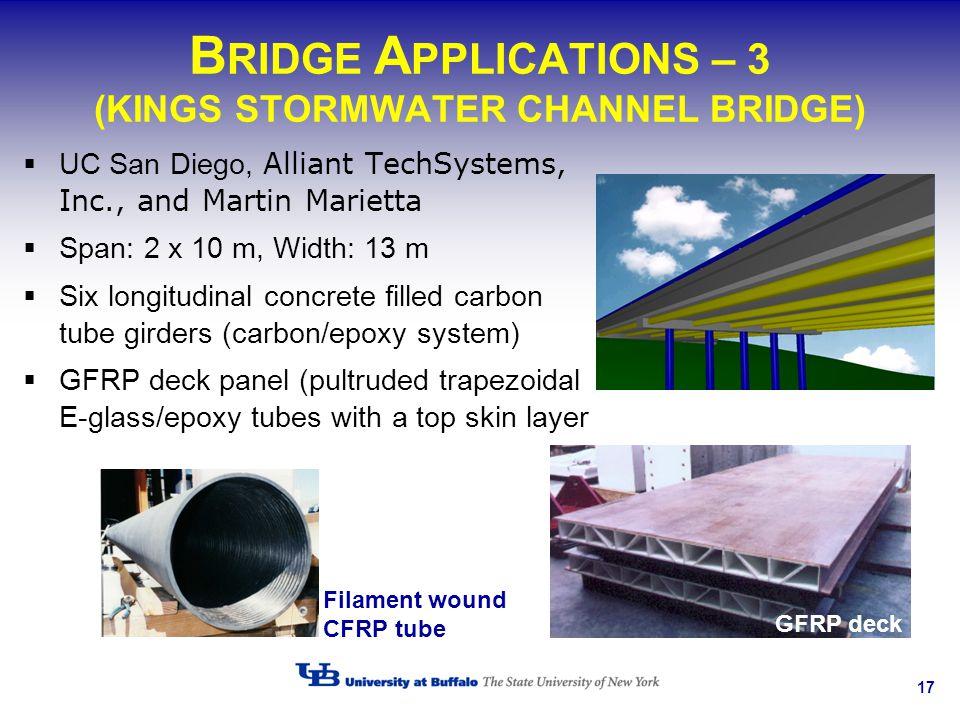 17 B RIDGE A PPLICATIONS – 3 (KINGS STORMWATER CHANNEL BRIDGE) UC San Diego, Alliant TechSystems, Inc., and Martin Marietta Span: 2 x 10 m, Width: 13