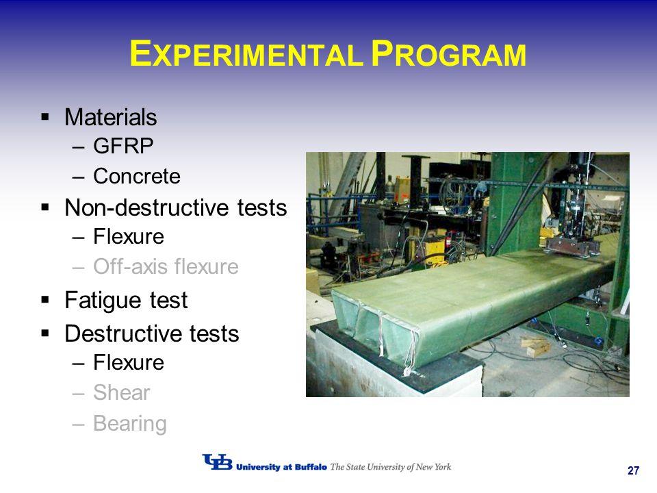 27 E XPERIMENTAL P ROGRAM Materials –GFRP –Concrete Non-destructive tests –Flexure –Off-axis flexure Fatigue test Destructive tests –Flexure –Shear –B