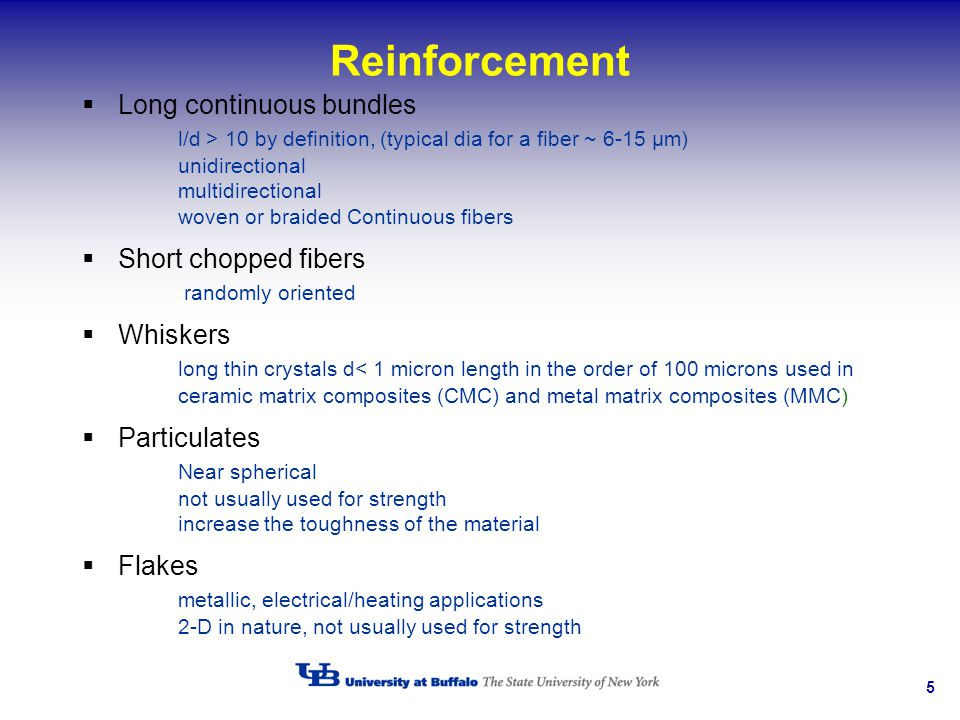 5 Reinforcement Long continuous bundles l/d > 10 by definition, (typical dia for a fiber ~ 6-15 µm) unidirectional multidirectional woven or braided C