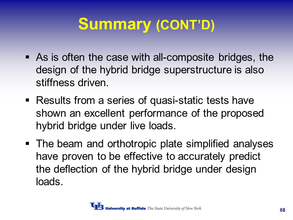 68 Summary (CONTD) As is often the case with all-composite bridges, the design of the hybrid bridge superstructure is also stiffness driven. Results f