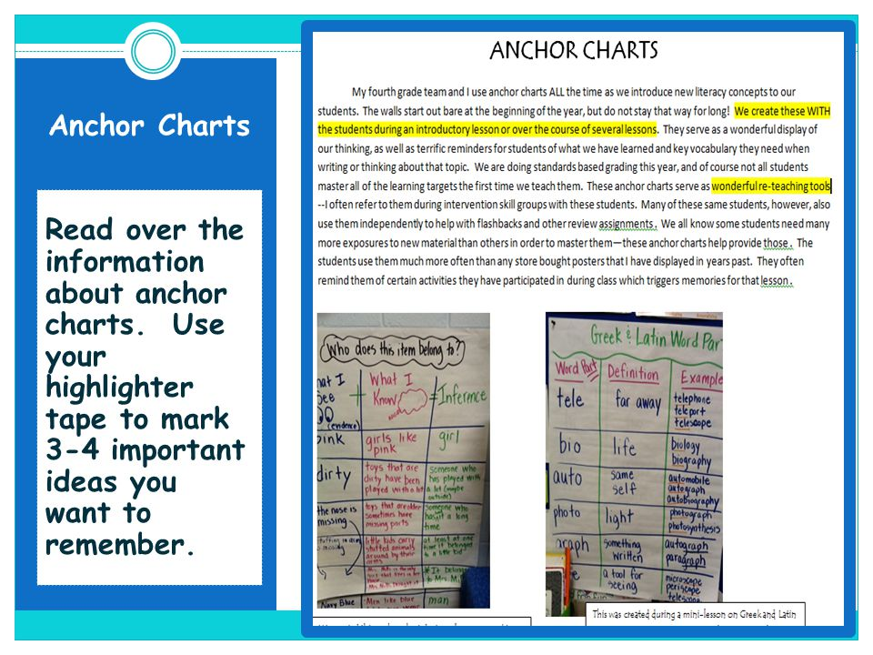 Read over the information about anchor charts. Use your highlighter tape to mark 3-4 important ideas you want to remember.