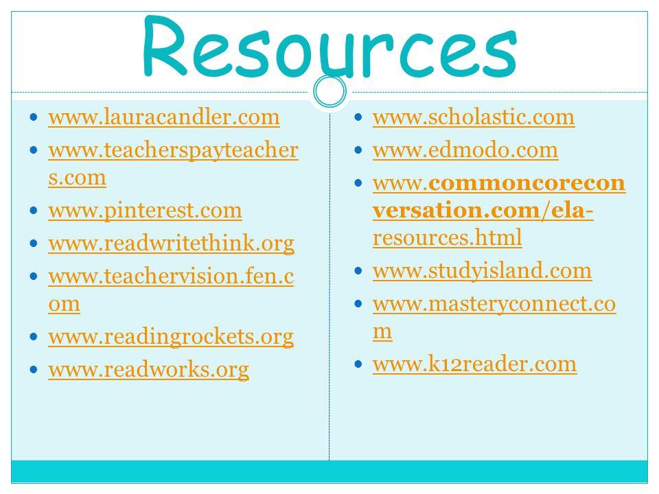 Resources www.lauracandler.com www.teacherspayteacher s.com www.teacherspayteacher s.com www.pinterest.com www.readwritethink.org www.teachervision.fen.c om www.teachervision.fen.c om www.readingrockets.org www.readworks.org www.scholastic.com www.edmodo.com www.commoncorecon versation.com/ela- resources.html www.commoncorecon versation.com/ela- resources.html www.studyisland.com www.masteryconnect.co m www.masteryconnect.co m www.k12reader.com