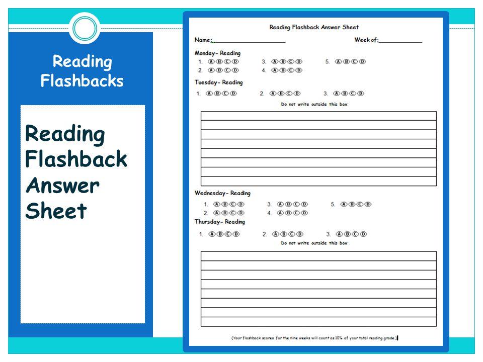 Reading Flashbacks Reading Flashback Answer Sheet