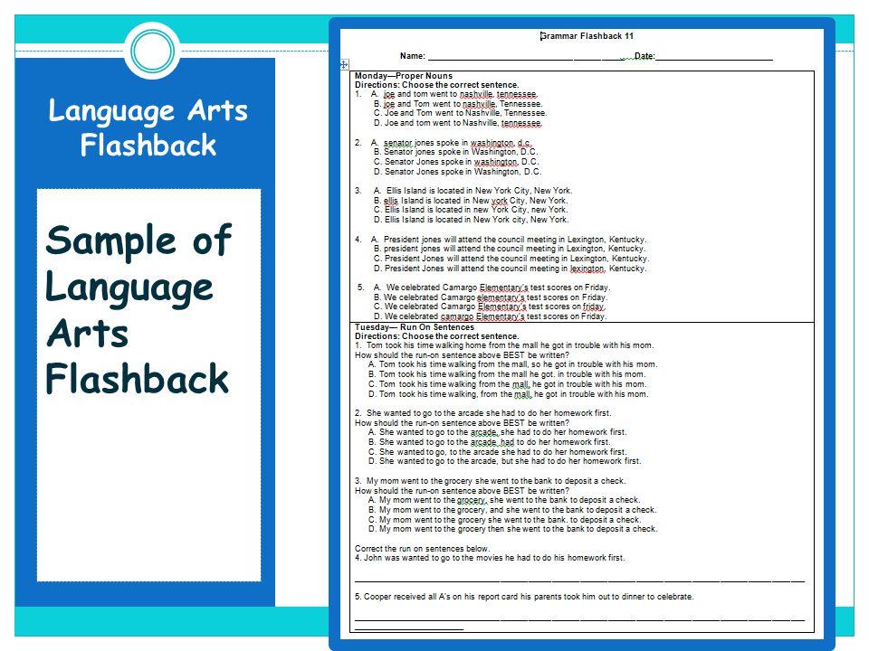 Language Arts Flashback Sample of Language Arts Flashback