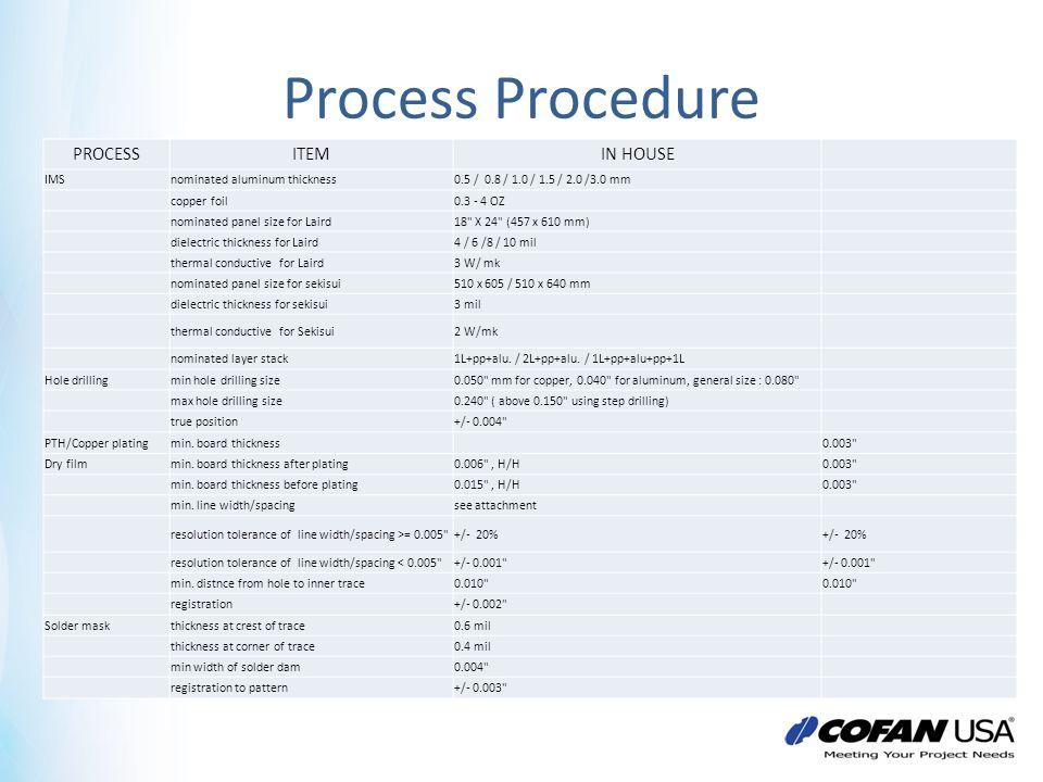Process Procedure PROCESSITEMIN HOUSE IMSnominated aluminum thickness0.5 / 0.8 / 1.0 / 1.5 / 2.0 /3.0 mm copper foil0.3 - 4 OZ nominated panel size fo