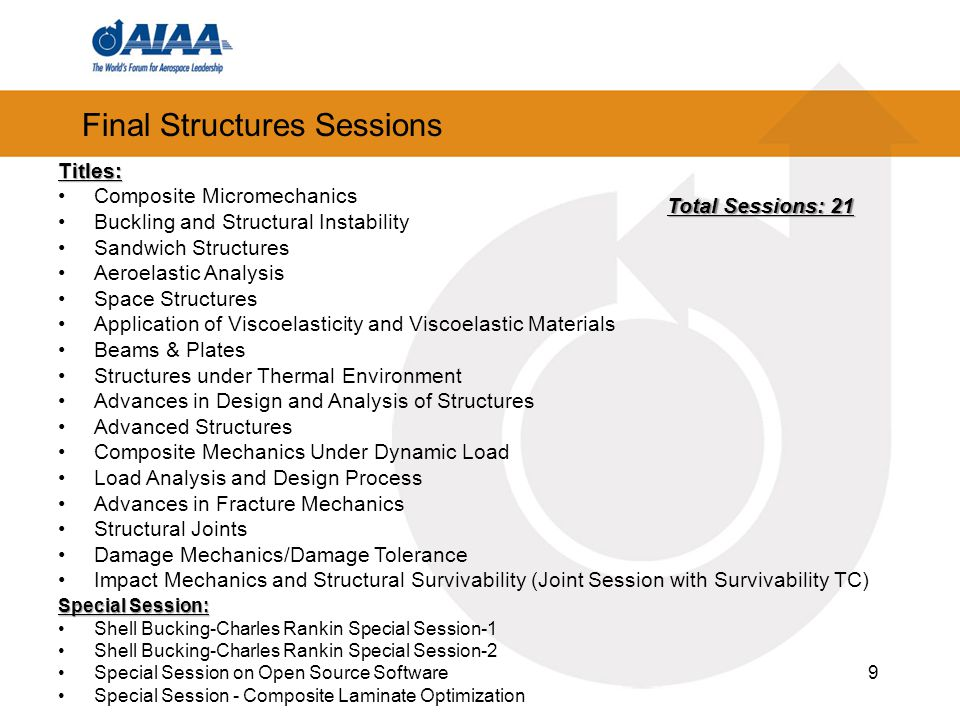 Final Structures Sessions 9 Titles: Composite Micromechanics Buckling and Structural Instability Sandwich Structures Aeroelastic Analysis Space Structures Application of Viscoelasticity and Viscoelastic Materials Beams & Plates Structures under Thermal Environment Advances in Design and Analysis of Structures Advanced Structures Composite Mechanics Under Dynamic Load Load Analysis and Design Process Advances in Fracture Mechanics Structural Joints Damage Mechanics/Damage Tolerance Impact Mechanics and Structural Survivability (Joint Session with Survivability TC) Special Session: Shell Bucking-Charles Rankin Special Session-1 Shell Bucking-Charles Rankin Special Session-2 Special Session on Open Source Software Special Session - Composite Laminate Optimization Total Sessions: 21