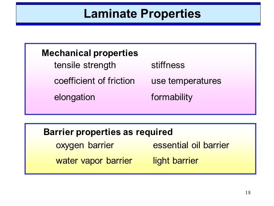 18 Mechanical properties tensile strengthstiffness coefficient of frictionuse temperatures elongationformability Laminate Properties Barrier propertie