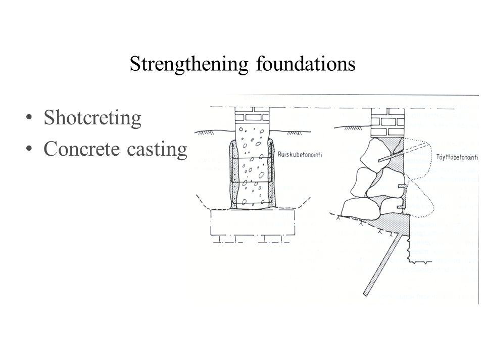 Strengthening foundations Shotcreting Concrete casting