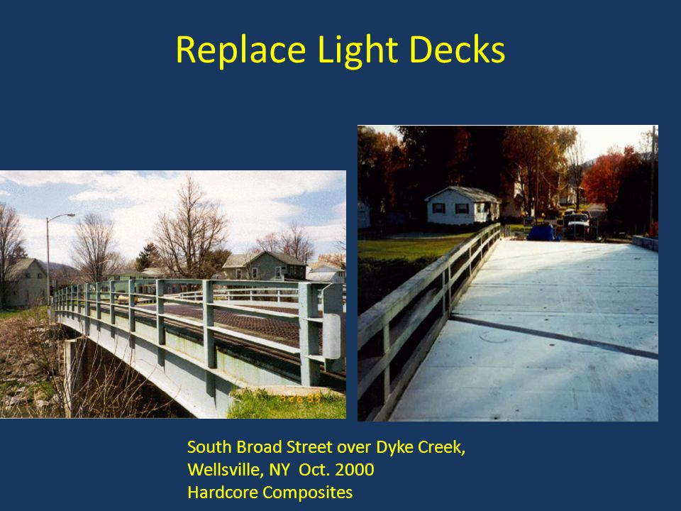 Replace Light Decks South Broad Street over Dyke Creek, Wellsville, NY Oct. 2000 Hardcore Composites
