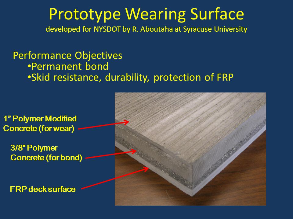 Prototype Wearing Surface developed for NYSDOT by R. Aboutaha at Syracuse University Performance Objectives Permanent bond Skid resistance, durability